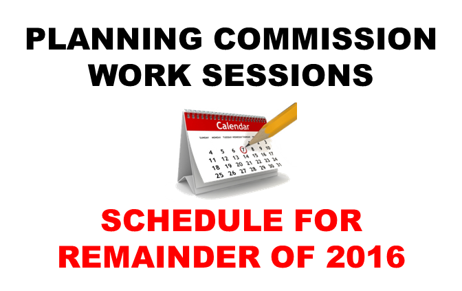 Planning Commission Schedule for 2016