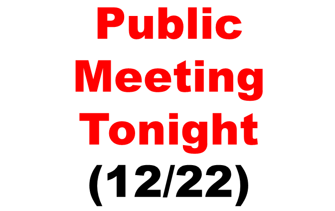 Meeting tonight: Adopt the Budget and Public Hearing